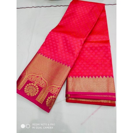 Kanchipuram Silk Saree - Pink & Red